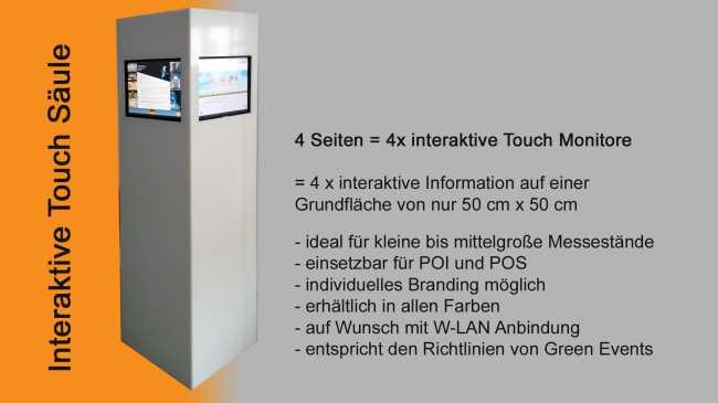 Touch Stele S�ule mit 4 Touchscreen integriert zum Mieten f�r Messestand auf Messe